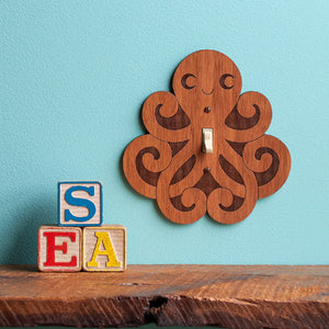 Octopus Wooden Light Switch Plate Cover
