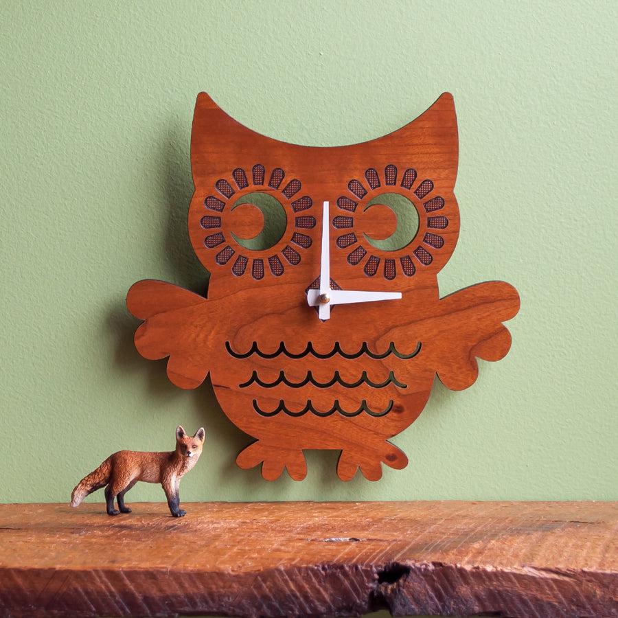 Owl Wooden Wall Clock