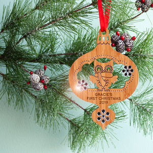 woodland owl christmas ornament baby's first christmas personalized keepsake