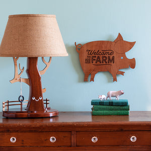 "Pig Wooden Wall Sign ""Welcome to the farm"""