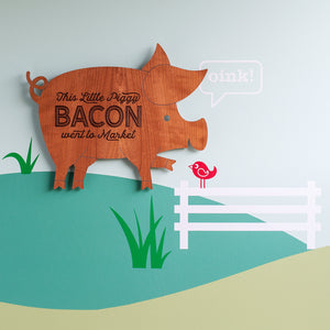 "Pig Wooden Wall Sign ""Bacon"""
