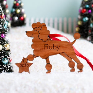 Poodle Wooden Christmas Ornament