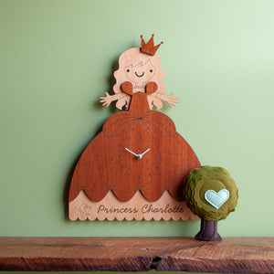 princess nursery wall clock personalized