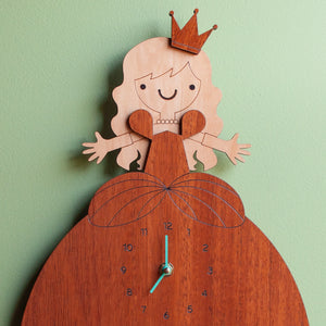wooden princess nursery wall clock personalized
