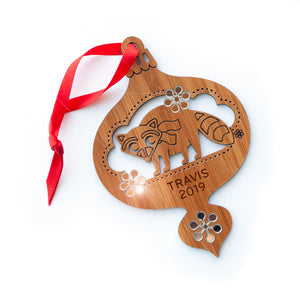 woodland raccoon christmas ornament baby's first christmas personalized keepsake