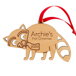 Raccoon Wooden Christmas Ornament
