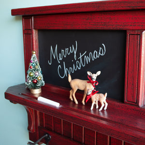 Wall Mirror Chalkboard Shelf & Coat Rack