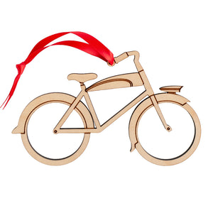 Bike Wooden Christmas Ornament: Retro Boy