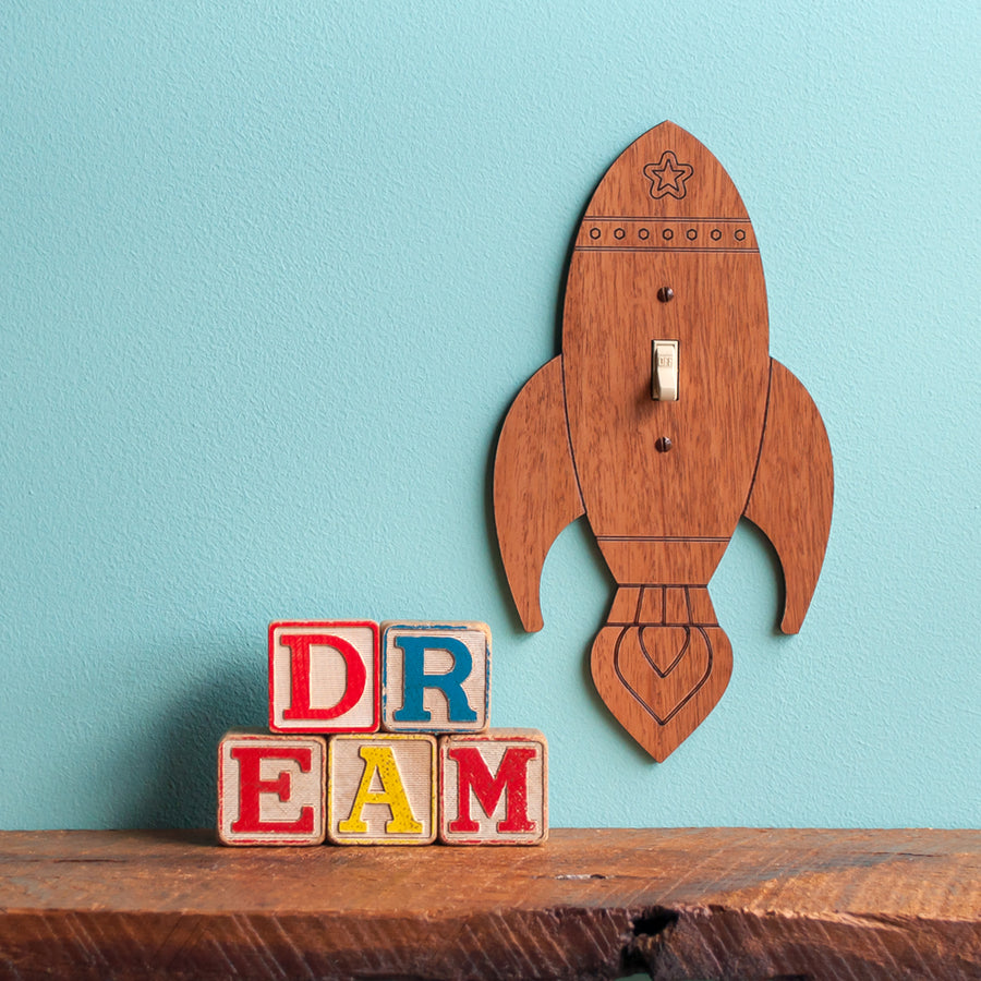 Rocket Wooden Light Switch Plate Cover