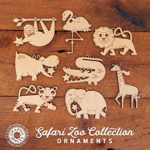 wood safari jungle zoo christmas ornaments
