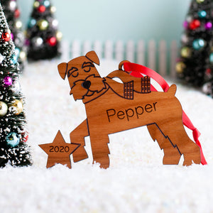 Schnauzer Wooden Christmas Ornament
