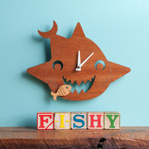Happy Shark Wooden Wall Clock
