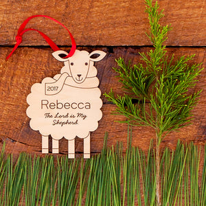 Handmade original Sheep Christian Christmas ornament personalized in choice of wood & engraved by Graphic Spaces
