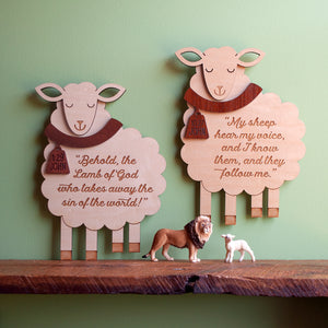 Sheep Christian Scripture Wooden Wall Sign