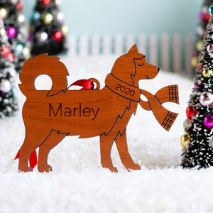 Siberian Husky Wooden Christmas Ornament
