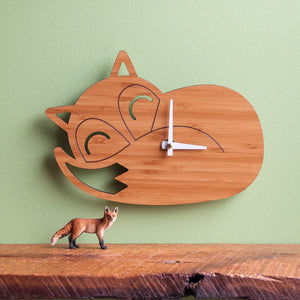 Sleeping Fox Wooden Wall Clock