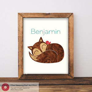 "Sleeping Baby Fox Name Art Print 8"" x 10"" (Exhibit 2)"