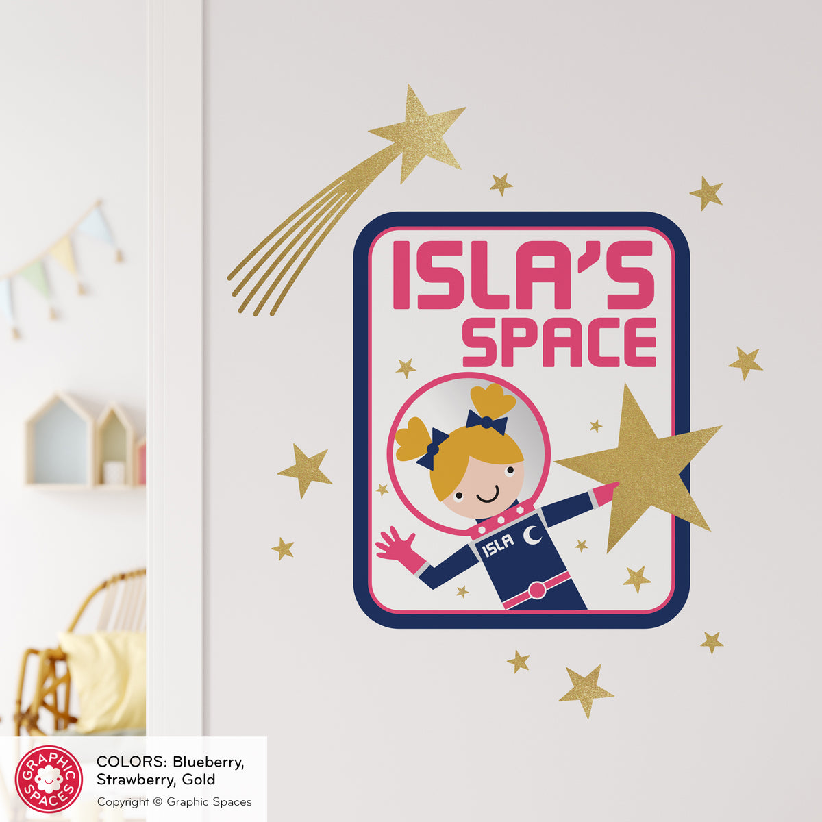 Astronaut Girl Space Door Sign Fabric Wall Decal