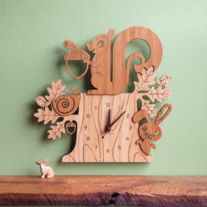 Squirrel Bamboo Wall Clock