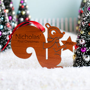 Squirrel Wooden Christmas Ornament
