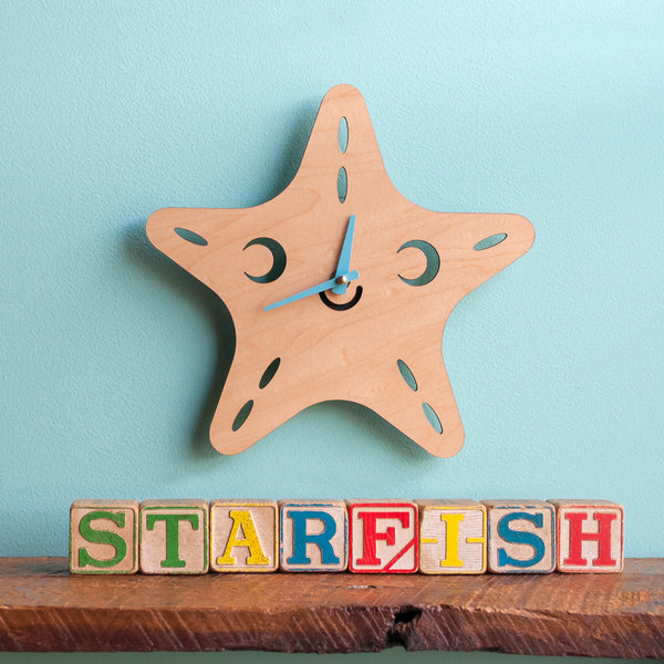 Happy Starfish Wooden Wall Clock