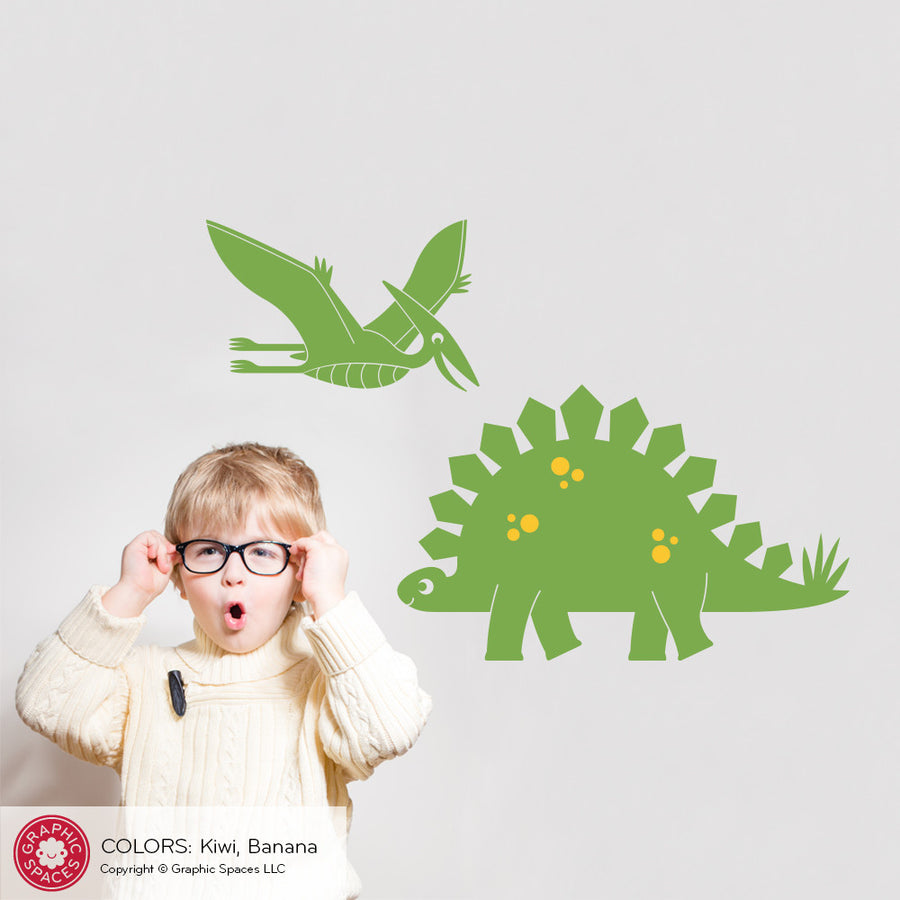 Stegosaurus & Pterodactyl Dinosaur Wall Decal: Medium 2-Pack