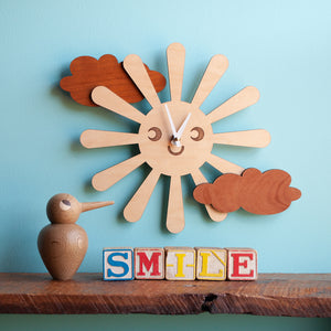 Happy Sun Wooden Wall Clock