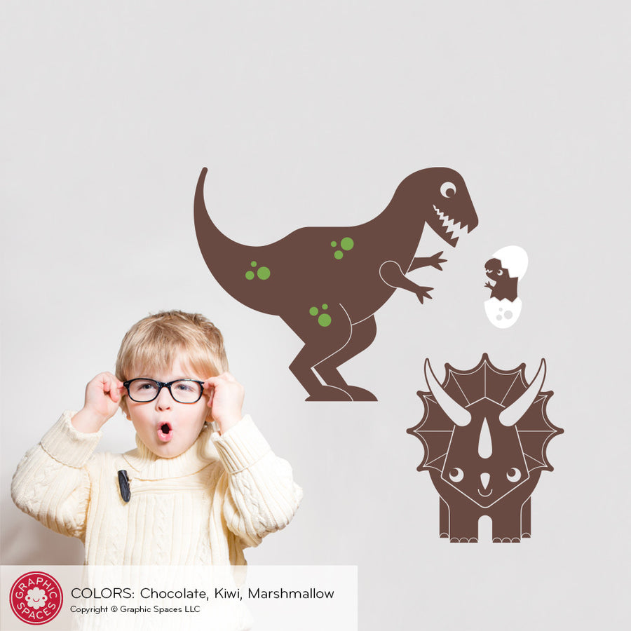 T-Rex, Baby & Triceratops Dinosaur Wall Decal: Medium 3-Pack