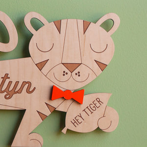 Tiger Wooden Room Sign