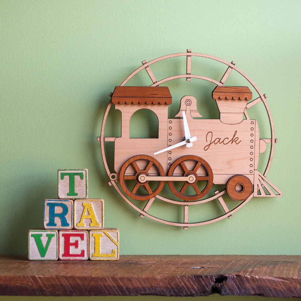 Train Wooden Wall Clock: Personalized