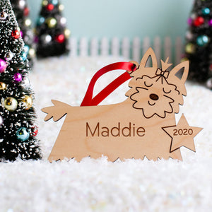 Yorkshire Terrier Wooden Christmas Ornament