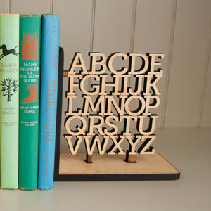 Alphabet Wooden Bookend for ABC nursery decor handmade by Graphic Spaces
