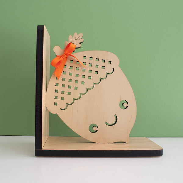 Acorn Wooden Bookend