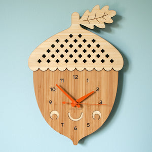 Happy Acorn Bamboo Wall Clock woodland animal decor handmade by Graphic Spaces
