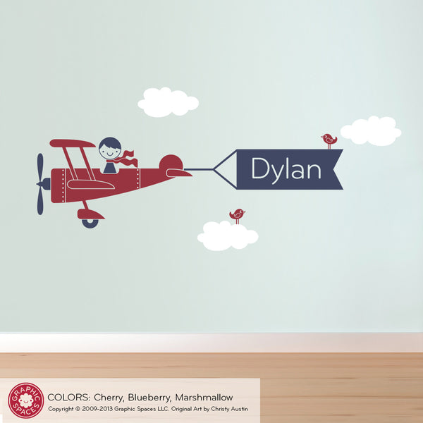Airplane Boy Name Banner Wall Decal Graphic Spaces
