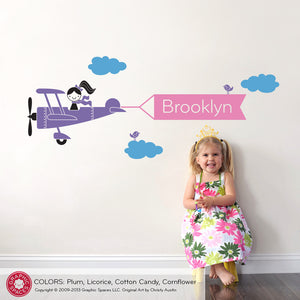 Airplane Girl Banner Wall Decal