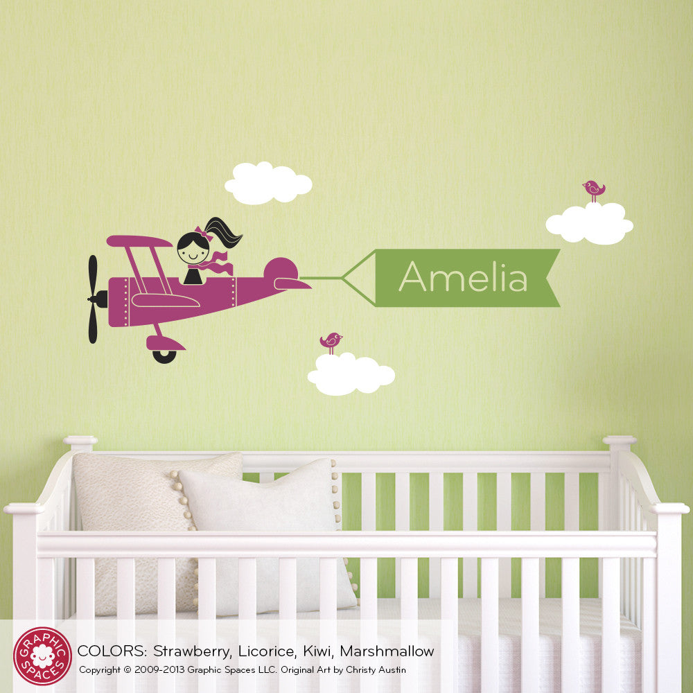 Airplane Girl Name Banner Wall Decal - Graphic Spaces