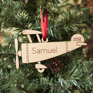 Handmade Personalized Wooden Airplane Christmas Ornament for Baby, Kids & Family by Graphic Spaces