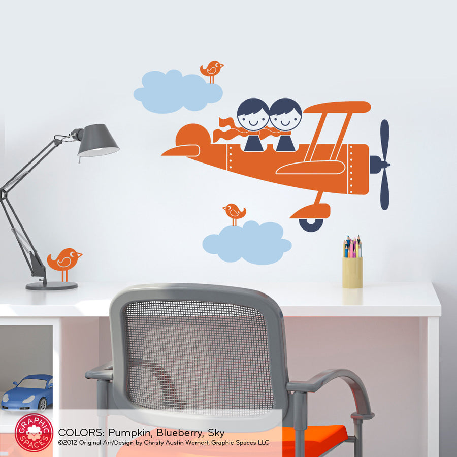 Airplane Twin Seater Wall Decal