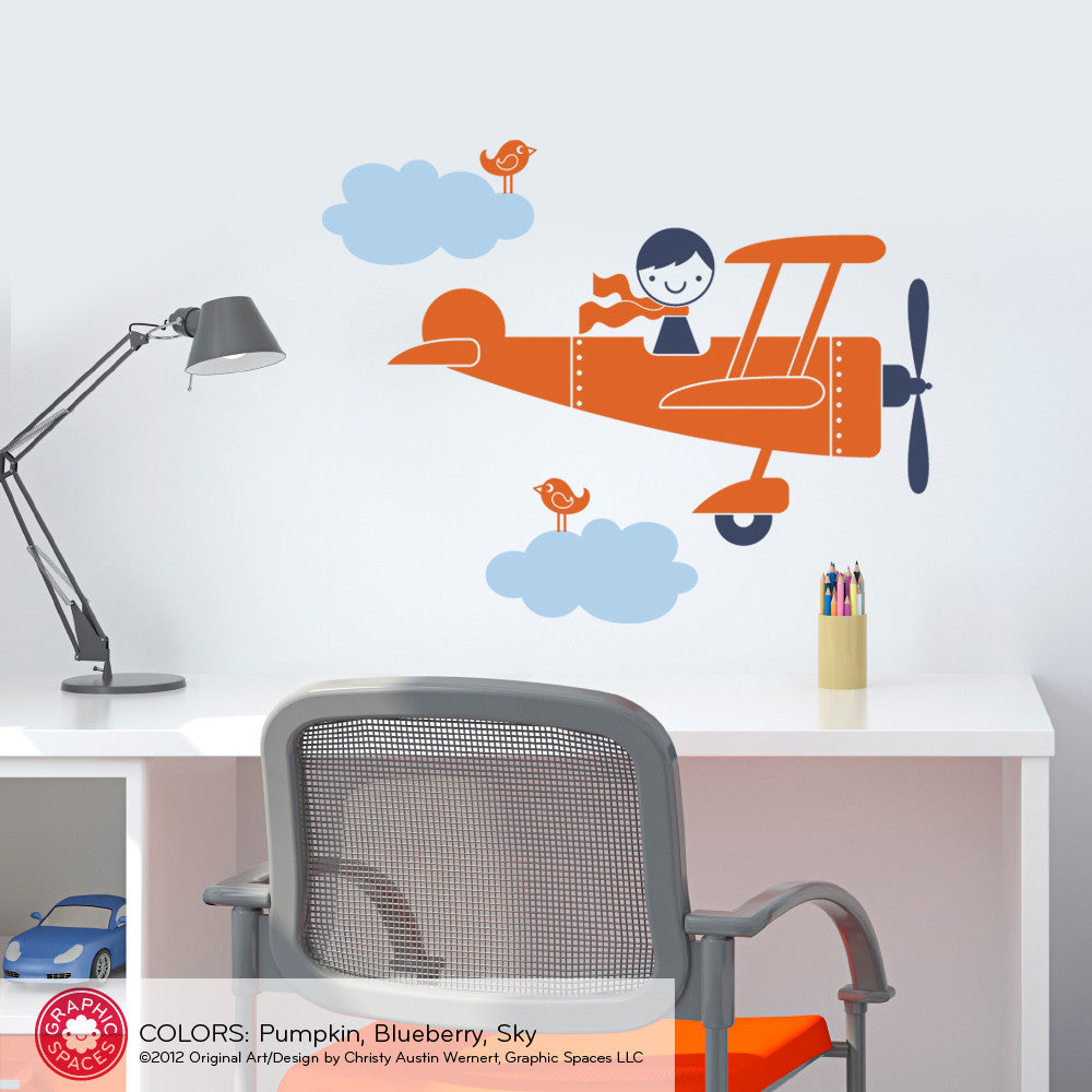 Airplane wall decals roselawnlutheran airplane boy wall decal amipublicfo Image collections