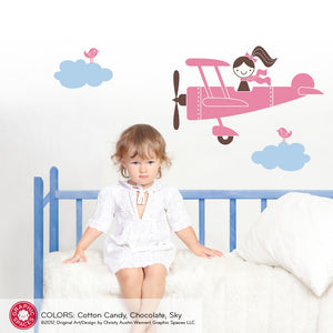 Airplane Girl Wall Decal