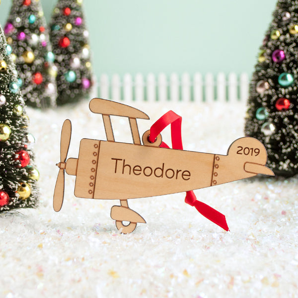 airplane christmas ornament personalized