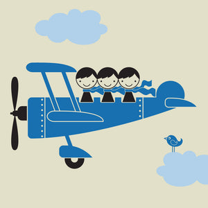 Airplane Triple Seater Wall Decal