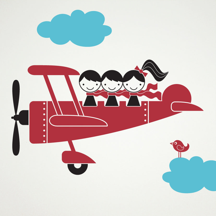 Airplane Wall Decal, Triple Seater