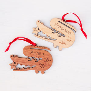 Alligator Wooden Christmas Ornament