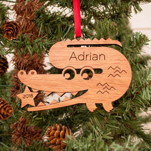 wooden alligator christmas ornament personalized with name for baby or kids, cute safari zoo animal tree decoration