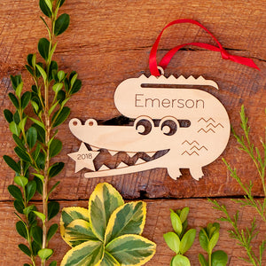 Original handmade alligator Christmas ornament personalized in choice of wood & engraved with name/date by Graphic Spaces