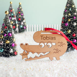 alligator christmas ornament personalized