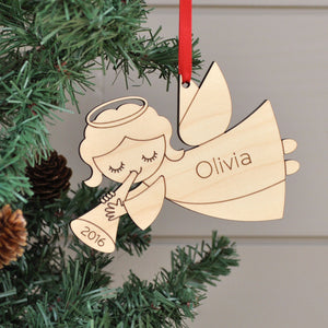 Original handmade angel Christmas ornament personalized in choice of wood & engraved with name/date by Graphic Spaces