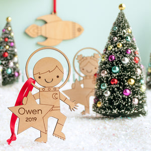 outer space astronaut boy christmas ornament personalized